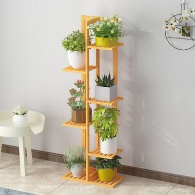 49.2 in. H Indoor Outdoor Brown Bamboo Flower Pot Rack Plant Stand (6-Tier)