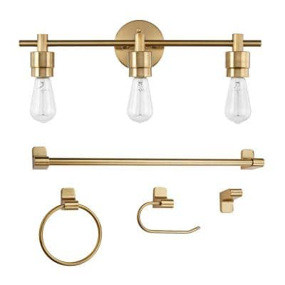 Alexandria 21.4 in. 3-Light Matte Brass Vanity Light with Bath Set (5-Piece)