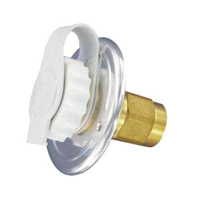 """Flush-Mount Water Inlet - FPT, 2-3/4"""" Flange, Aluminum Finish (Carded)"""