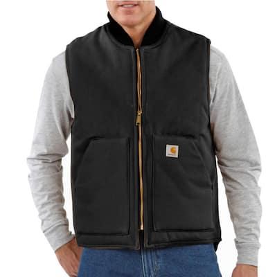 Men's X-Large Tall Black Cotton Duck Vest Arctic Quilt Lined