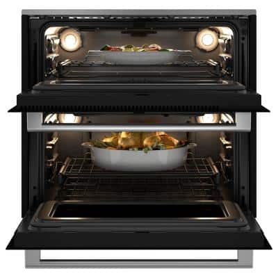30 in. Double Electric Smart Wall Oven with Convection Self-Cleaning in Platinum Glass