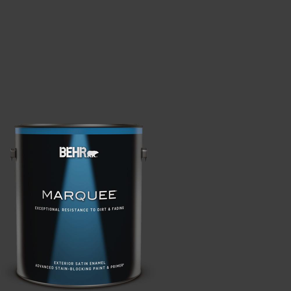 1 gal. #T13-3 Black Lacquer Satin Enamel Exterior Paint & Primer