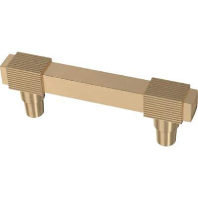 Fluted Square 3 in. (76 mm) Champagne Bronze Drawer Pull