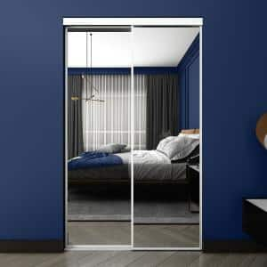 48 in. x 80.5 in White Econo Mirror Sliding Closet Door