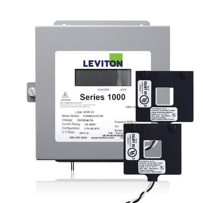 Series 1000 Single Phase Indoor Meter Kit, 120/240-Volt 200 Amp 1P3-Watt with 2 Split Core CTs, Gray