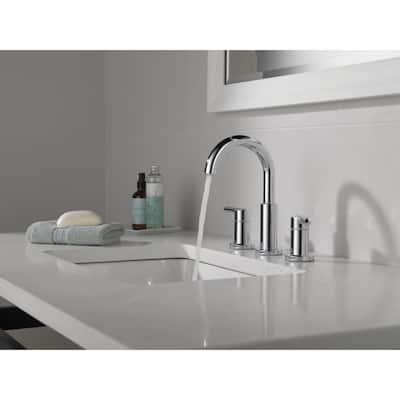 Nicoli J-Spout 8 in. Widespread 2-Handle Bathroom Faucet in Chrome
