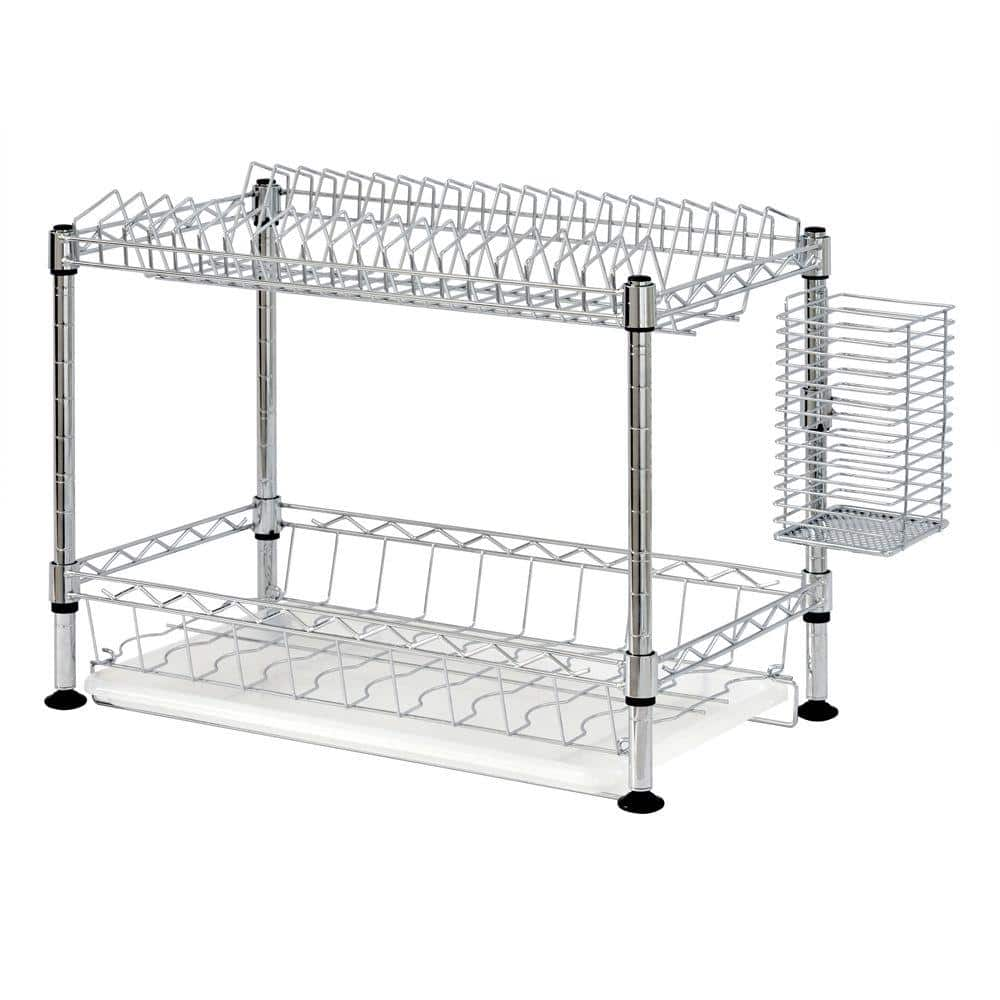 Sandusky 2 Tier Wire Dish Rack In Chrome Wdr101812 The Home Depot