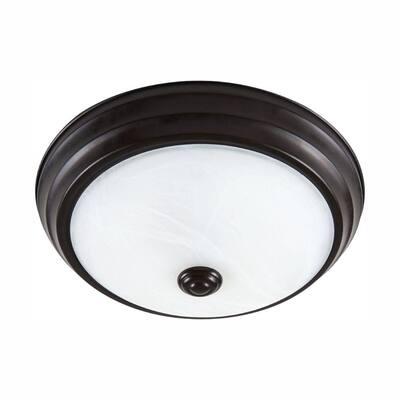 Satin Bronze Dimming LED Flush Mount with Alabaster Glass