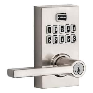 917 SmartCode Satin Nickel Contemporary Electronic Single-Cylinder Halifax Door Lever Featuring SmartKey Security