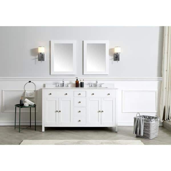 Home Decorators Collection 22 00 In W X 30 00 In H Framed Rectangular Bathroom Vanity Mirror In White Austen Mr W The Home Depot