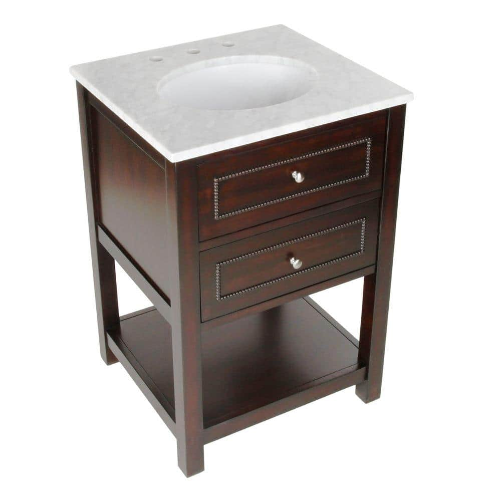 Pegasus Mdsn 24 In W Bath Vanity With Marble Single Basin Vanity Top In White With Beige Basin F10ae00211a The Home Depot