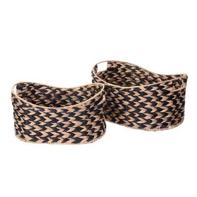 8 in. W x 12 in. H and 10 in. W x 7 in. H Handmade Water Hyacinth Oval Braided Wicker Nesting Baskets in Black (2-Pack)