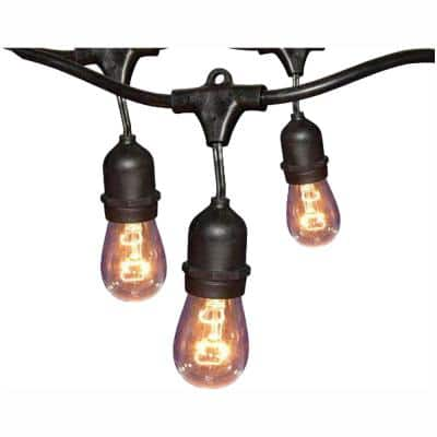 12-Light 24 ft. Black Commercial Incandescent String Light