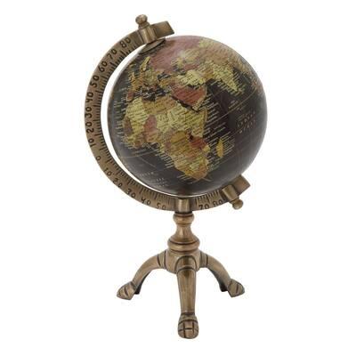 12 in. Vintage Globe Bronze Tripod
