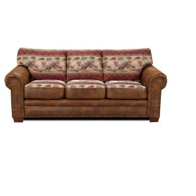 Deer Valley Lodge 88 in. W Round Arm Pinto Brown Microfiber Lodge Straight Sofa with Multi-Colored
