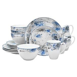 Blue Nebula 16-Piece Casual white/blue Porcelain Dinnerware Set (Service for 4)