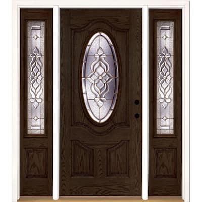 67.5 in.x81.625 in. Lakewood Brass 3/4 Oval Lite Stained Walnut Oak Left-Hand Fiberglass Prehung Front Door w/Sidelites
