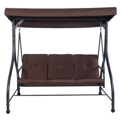 3-Person Steel Metal Outdoor Patio Swing Canopy Hammock with Brown Cushions