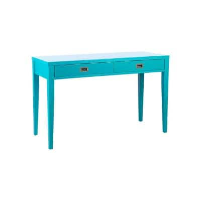 Julien 48 in. Rectangular Blue 2 Drawer Computer Desk with Solid Wood Material