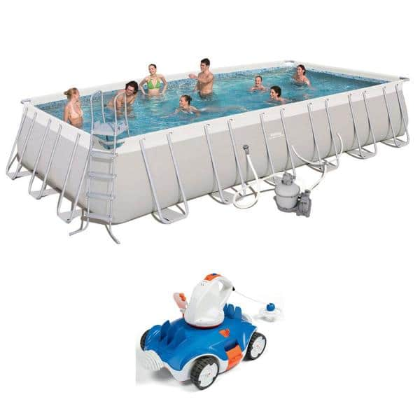Bestway Bestway 24 Ft X 12 Ft X 52 In Above Ground Swimming Pool With Cordless Cleaning Robot 56477e Bw 58483e Bw The Home Depot