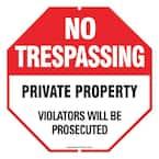 12 in. x 12 in. Aluminum No Trespassing Sign