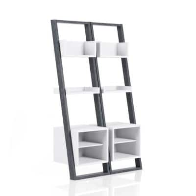 Addis 72 in. H Gray MDF 4-Shelf Leaning Accent Bookcase with 2-Pieces