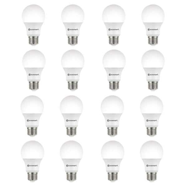 Ecosmart 100 Watt Equivalent A19 Non Dimmable Led Light Bulb Soft White 16 Pack A7a19a100wul01 The Home Depot