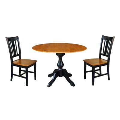 Sophia 3-Piece Black and Cherry 42 in. Dropleaf Table and San Remo Side Chair Dining Set