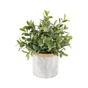 Artificial Eucalyptus in Gold Marble 4.5 in. Ceramic Pot