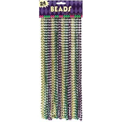 Green, Purple and Gold Plastic Mardi Gras Bead Necklaces (24-Count, 3-Pack)