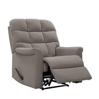 Smoke Gray Plush Low-Pile Velour Tufted Back Extra Large Wall Hugger Reclining Chair