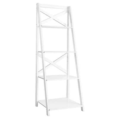 Classic 56.3 in. 4-Tier Ladder Shelf Bookshelf in White