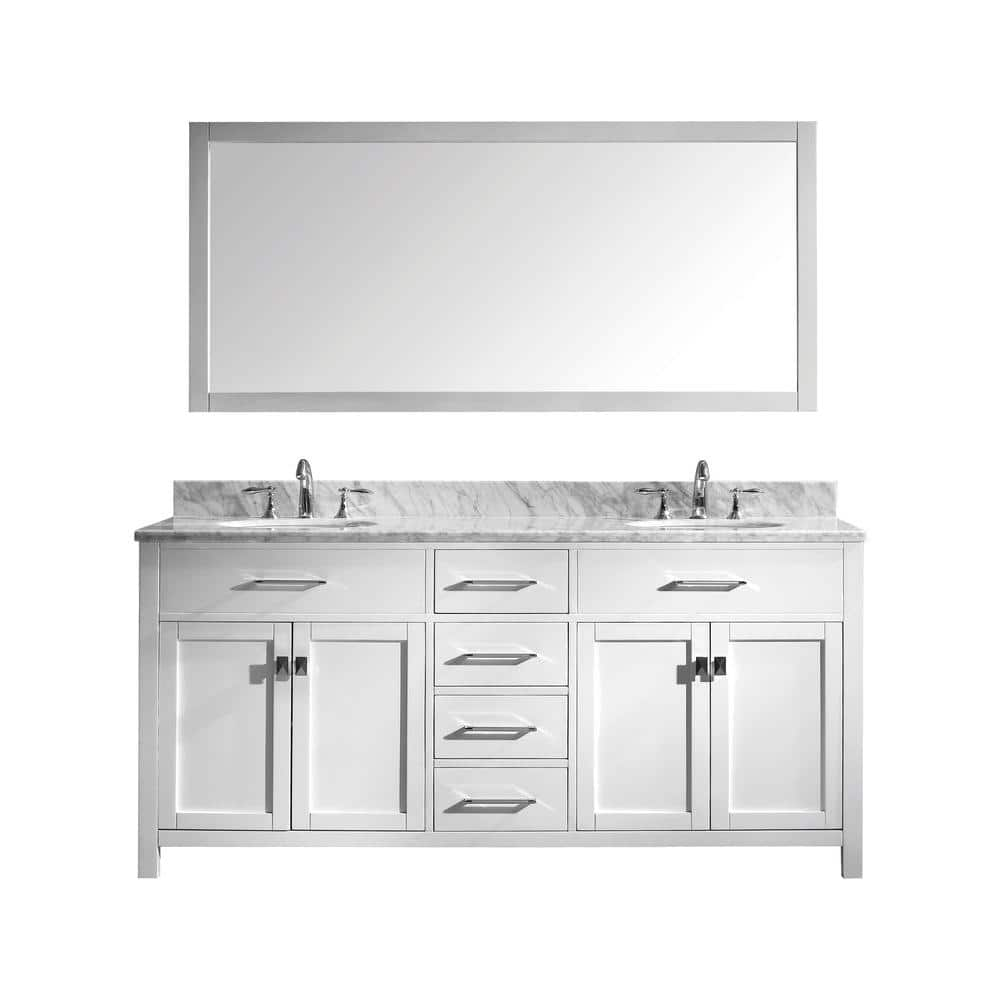 Virtu Usa Caroline 72 In W Bath Vanity In White With Marble Vanity Top In White With Round Basin And Mirror Md 2072 Wmro Wh The Home Depot