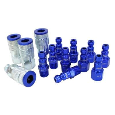ColorFit by Milton Coupler and Plug Kit - (T-Style Blue) - 1/4 in. NPT (14-Piece)