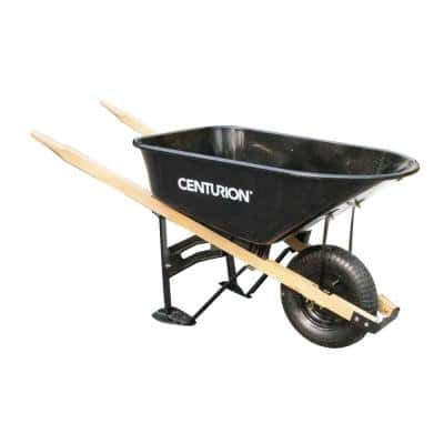 6 cu. ft. Steel Tray Wheelbarrow with Wood Handles with Zero Turn Feature and Pneumatic Knobby Tire