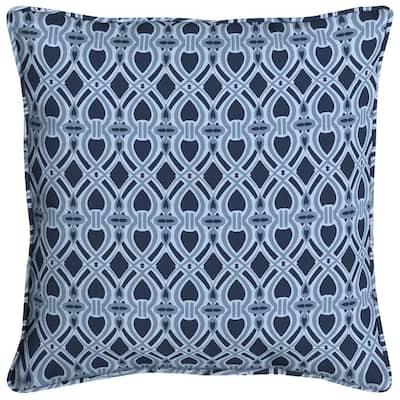 Midnight Trellis Welted Outdoor Throw Pillow