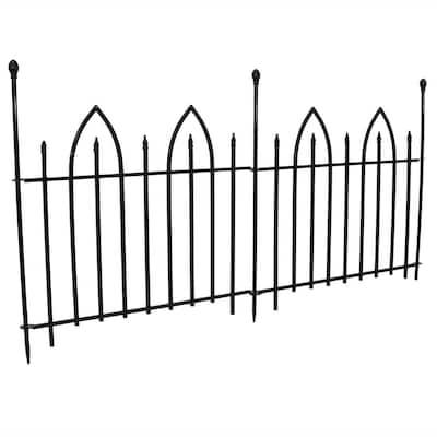 38 in. Iron Gothic Arch Garden Border Fence (2-Piece)