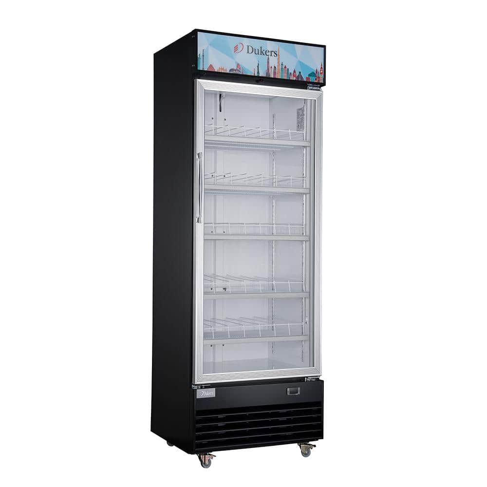 Dukers 15 1 Cu Ft Commercial Single Swing Door Glass Merchandiser Refrigerator In Black Lg 430 The Home Depot