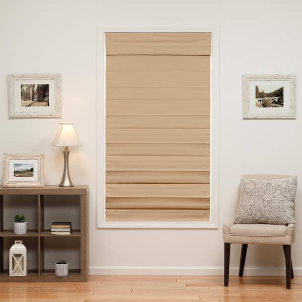 Perfect Lift Window Treatment Khaki Cordless Blackout Energy Efficient Cotton Roman Shades 24 In W X 72 In L 3qkk240720 The Home Depot