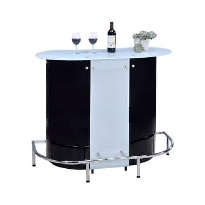 Contemporary White and Black Bar Unit with Frosted Glass Top