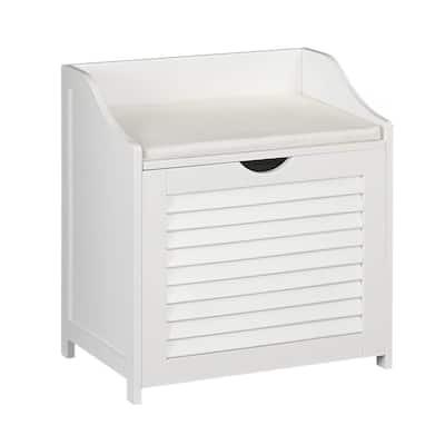 White Cabinet Hamper Seat, single load
