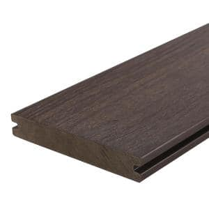 UltraShield Naturale Magellan 1 in. x 6 in. x 8 ft. Spanish Walnut Solid with Groove Composite Decking Board