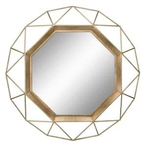 Medium Round Gold Art Deco Mirror (29.75 in. H x 29.75 in. W)