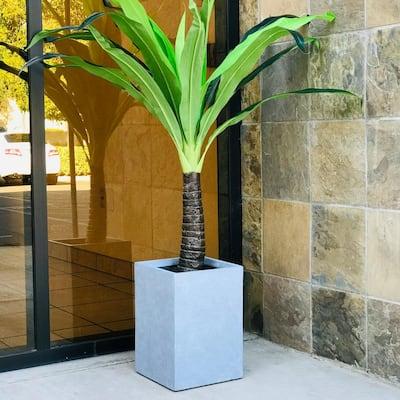 Medium 11 in. x 11 in. x 15.7 in. Cement Lightweight Concrete Tall Square Planter
