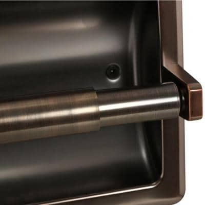 Recessed Toilet Paper Holder with Mounting Plate in Oil Rubbed Bronze