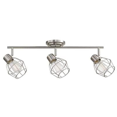 Cedric 3-Light Brushed Nickel Track Lighting Kit, Incandescent Bulbs Included