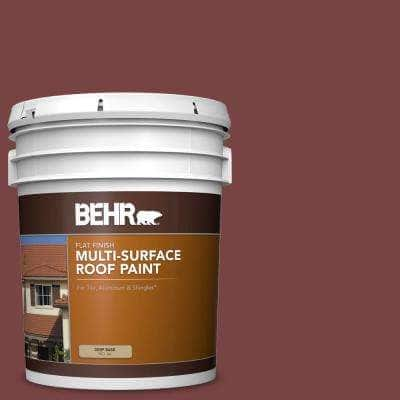 5 gal. #PFC-04 Tile Red Flat Multi-Surface Exterior Roof Paint