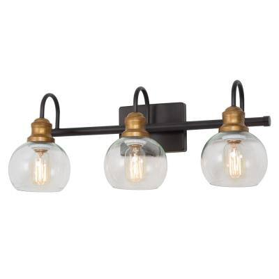 3-Light Aged Brass Accented Bathroom Light Fixture Black Vanity Light, Wall Sconce with Clear Glass Shades