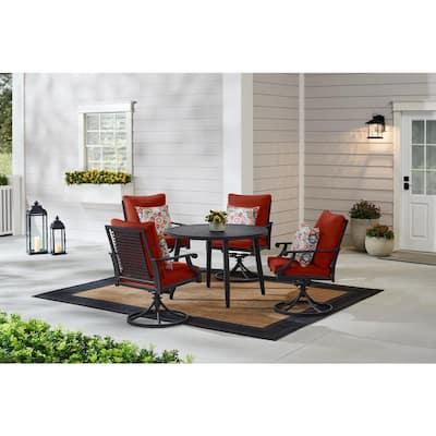 Braxton Park 5-Piece Black Steel Outdoor Patio Dining Set with Sunbrella Henna Red Cushions