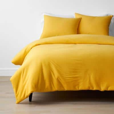 Company Cotton 2-Piece Yellow Jersey Knit Twin Duvet Cover Set